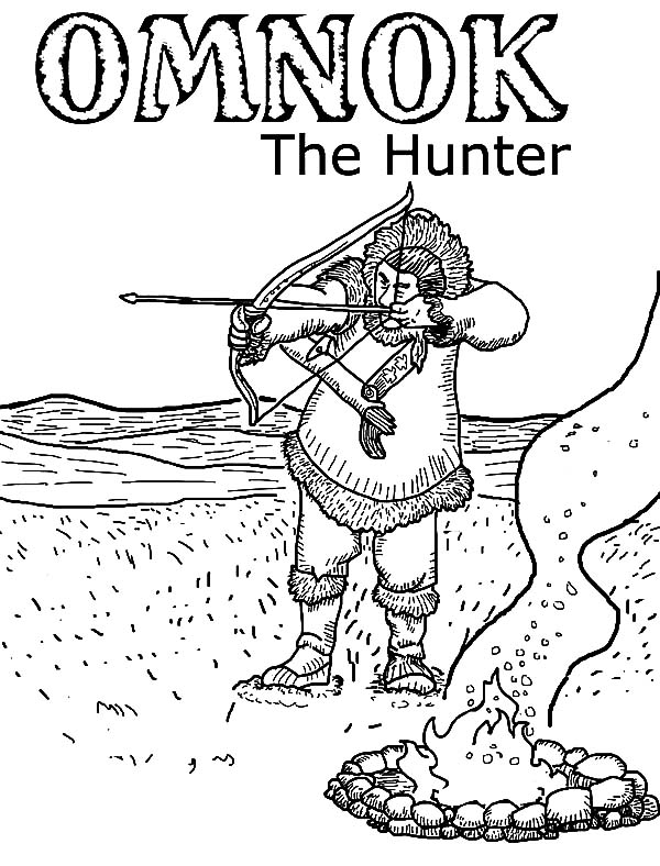 Omnok The Hunter Hunting With Bow And Arrow Coloring Pages