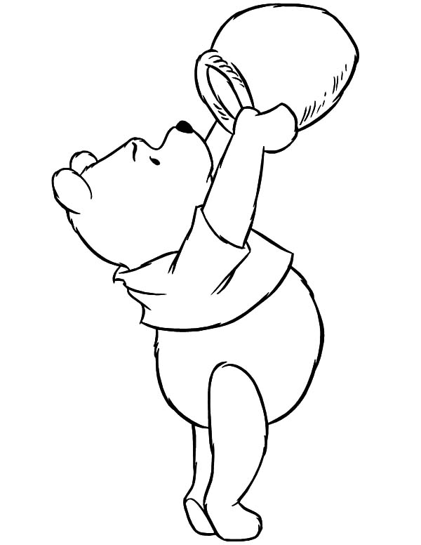 Pooh Honey Bear Checking Empty Honey Jar Coloring Pages