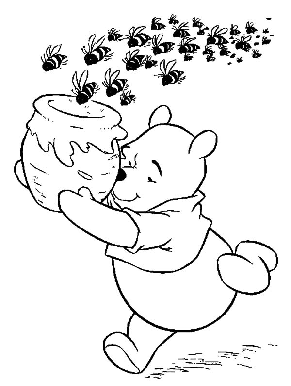 Pooh the Honey Bear Pursued by School of Bees Coloring