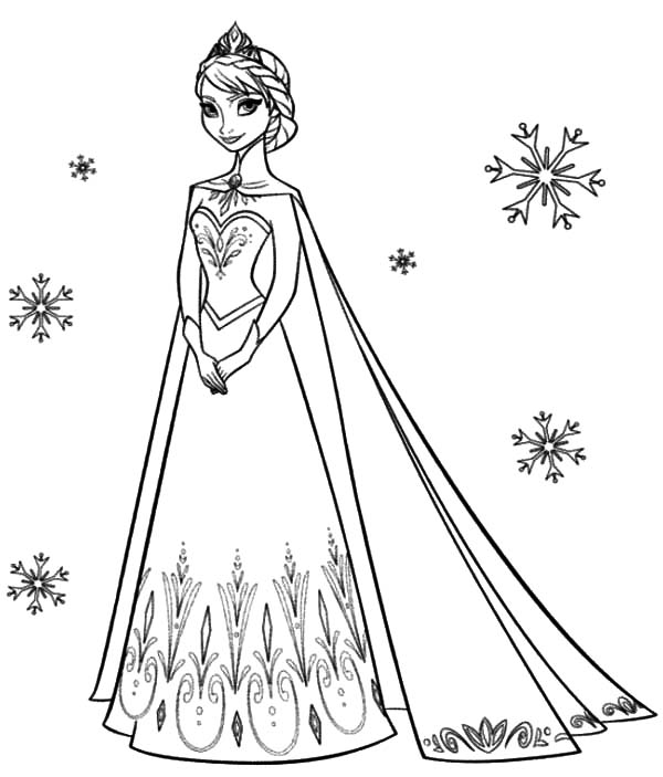 Anna And Elsa The Snow Queen Coloring Page