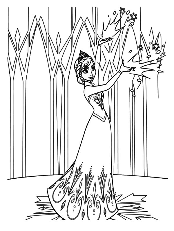 Queen Elsa Decorating Her Castle Coloring Pages : Coloring Sky