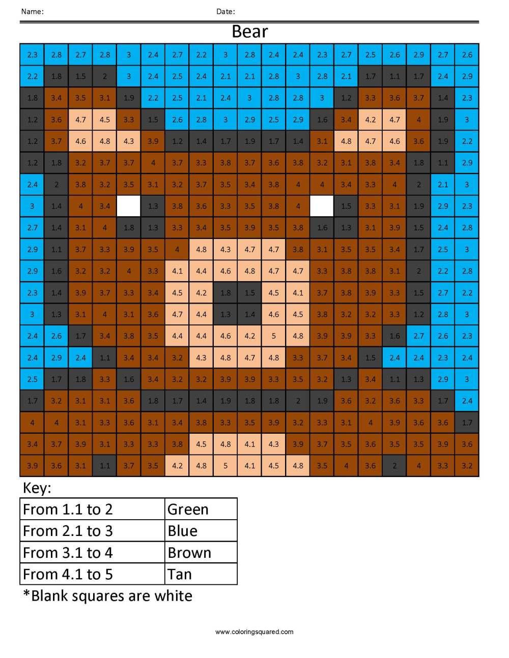 medium resolution of DP1 Bear Color free fractions decimals percent worksheet - Coloring Squared