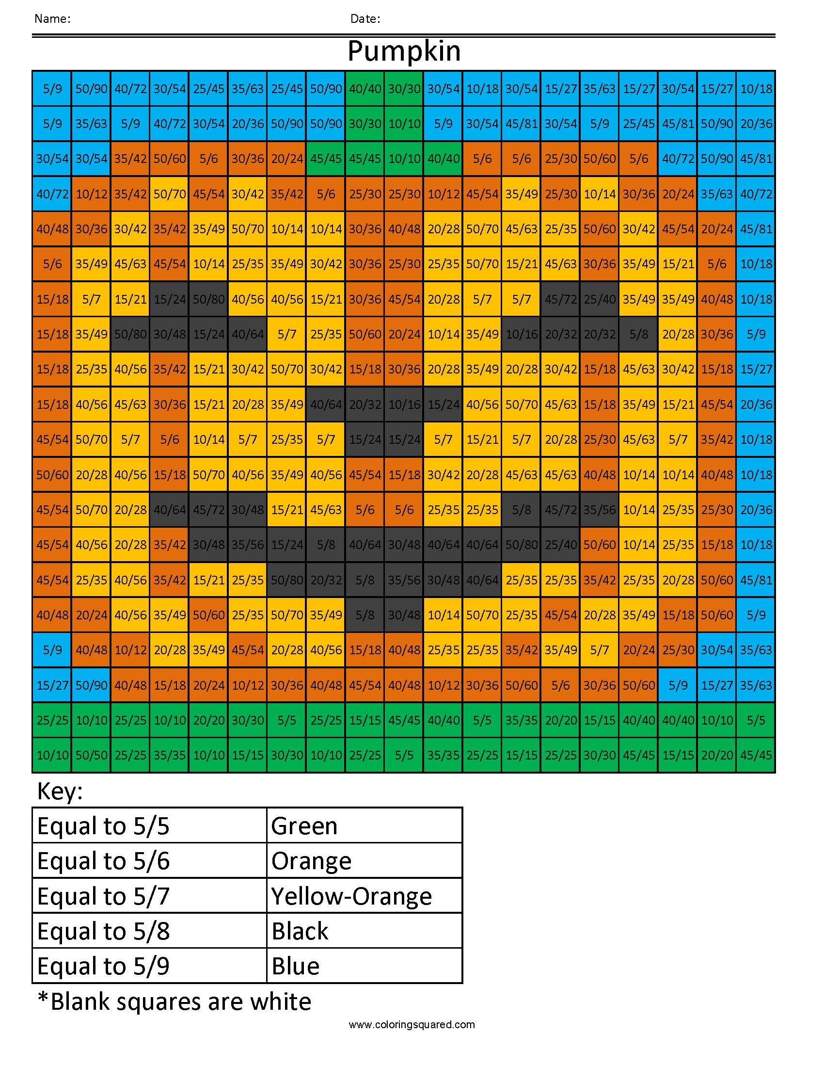 Ff20 Pumpkin Color Free Fractions Decimals Percent Worksheet