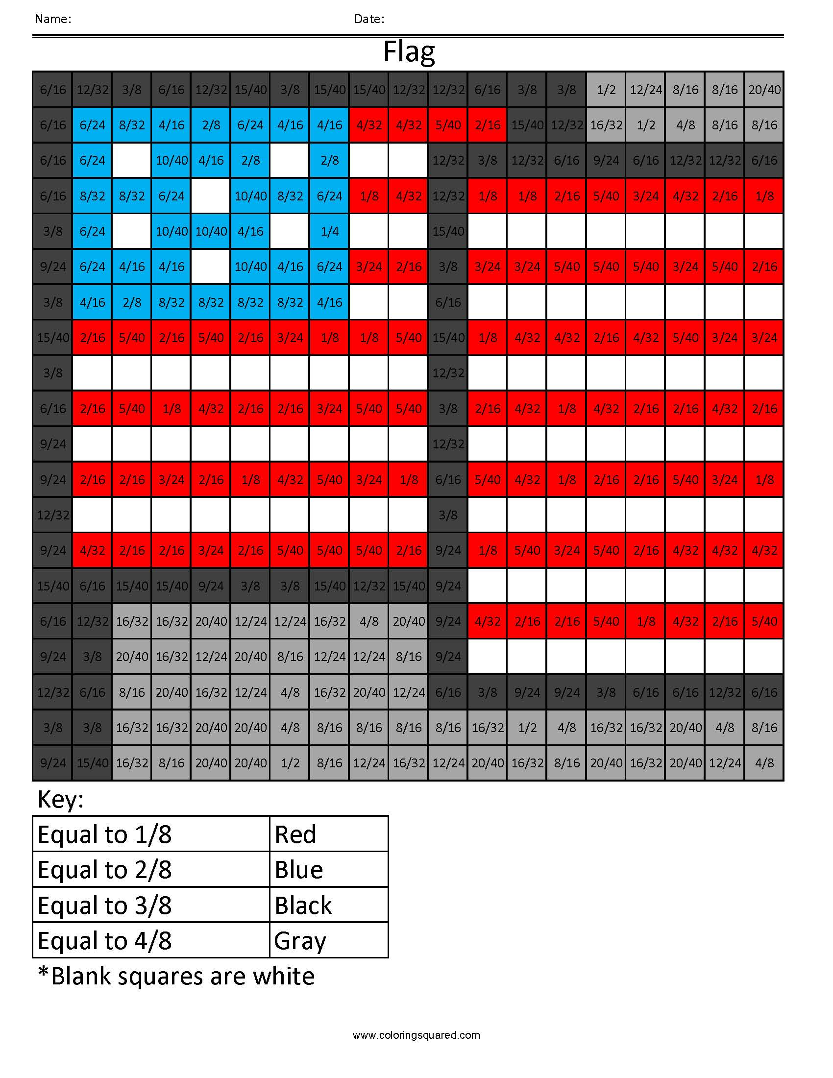 Ff6 Flag Color Free Fractions Decimals Percent Worksheet