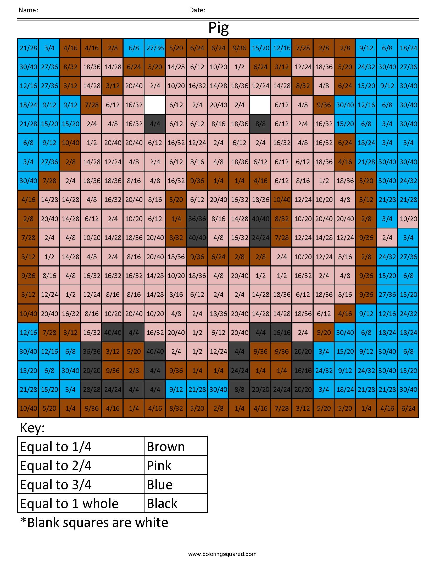 Ff7 Pig Color Free Fractions Decimals Percent Worksheet