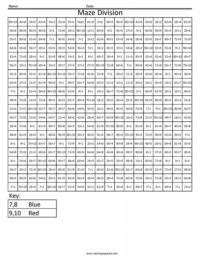 3DDC10 Maze Division division math worksheets common core