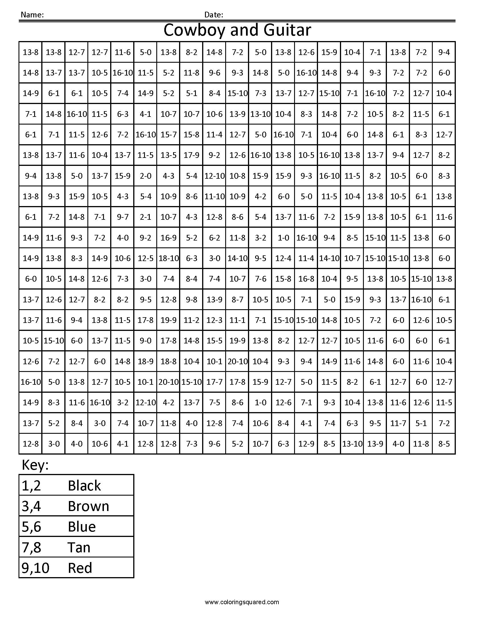 Grid Coloring Worksheet 5th Grade