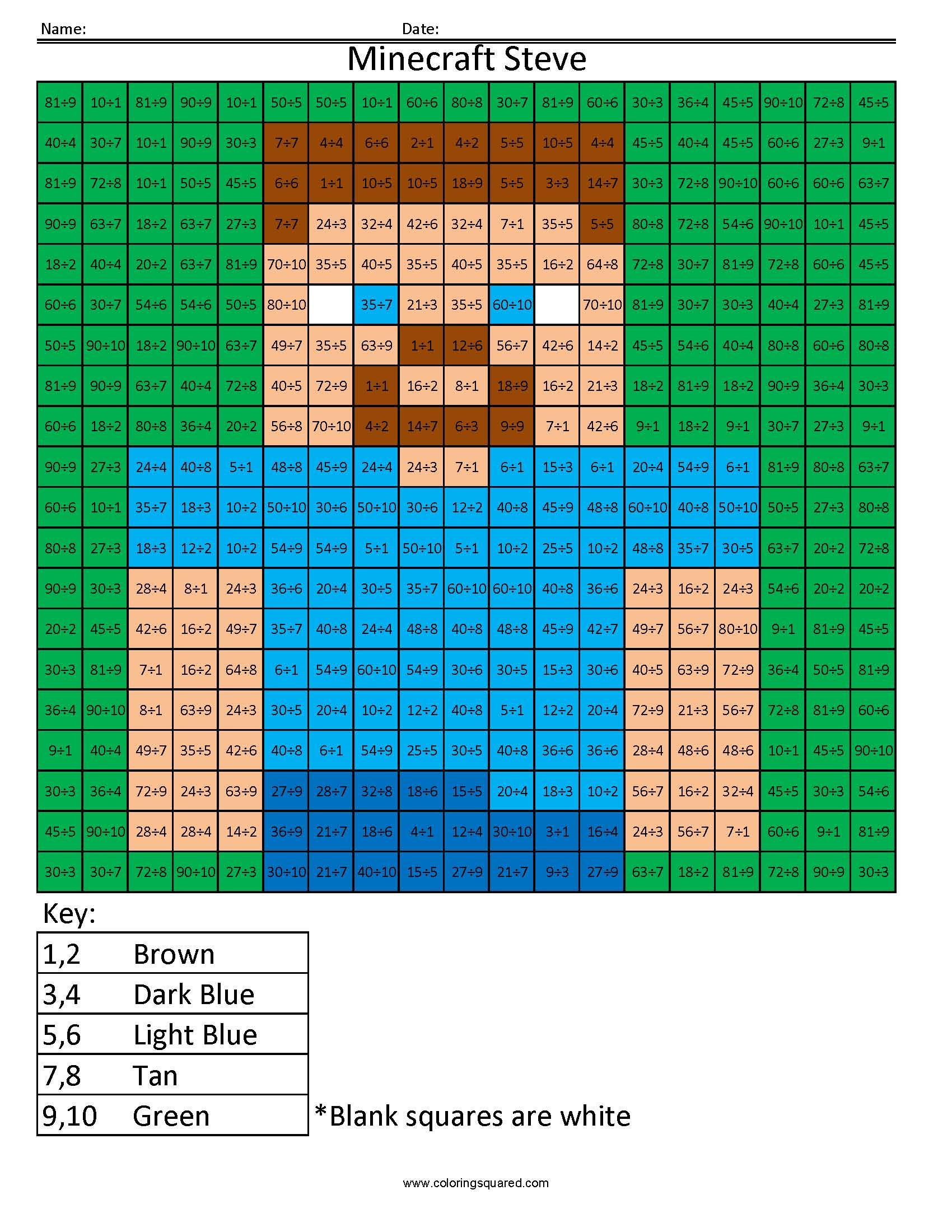 Mm8 Minecraft Steve Multiplication And Division Coloring