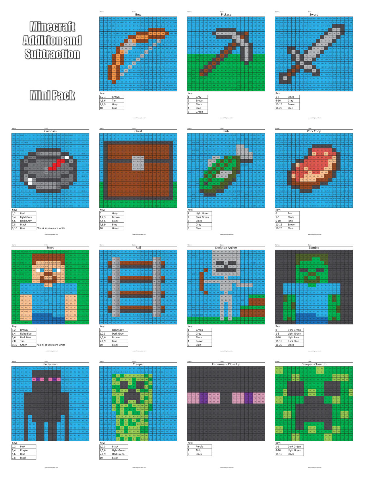 hight resolution of Minecraft Addition and Subtraction - Coloring Squared