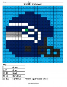 Seattle Seahawks Advanced Multiplication Coloring Squared