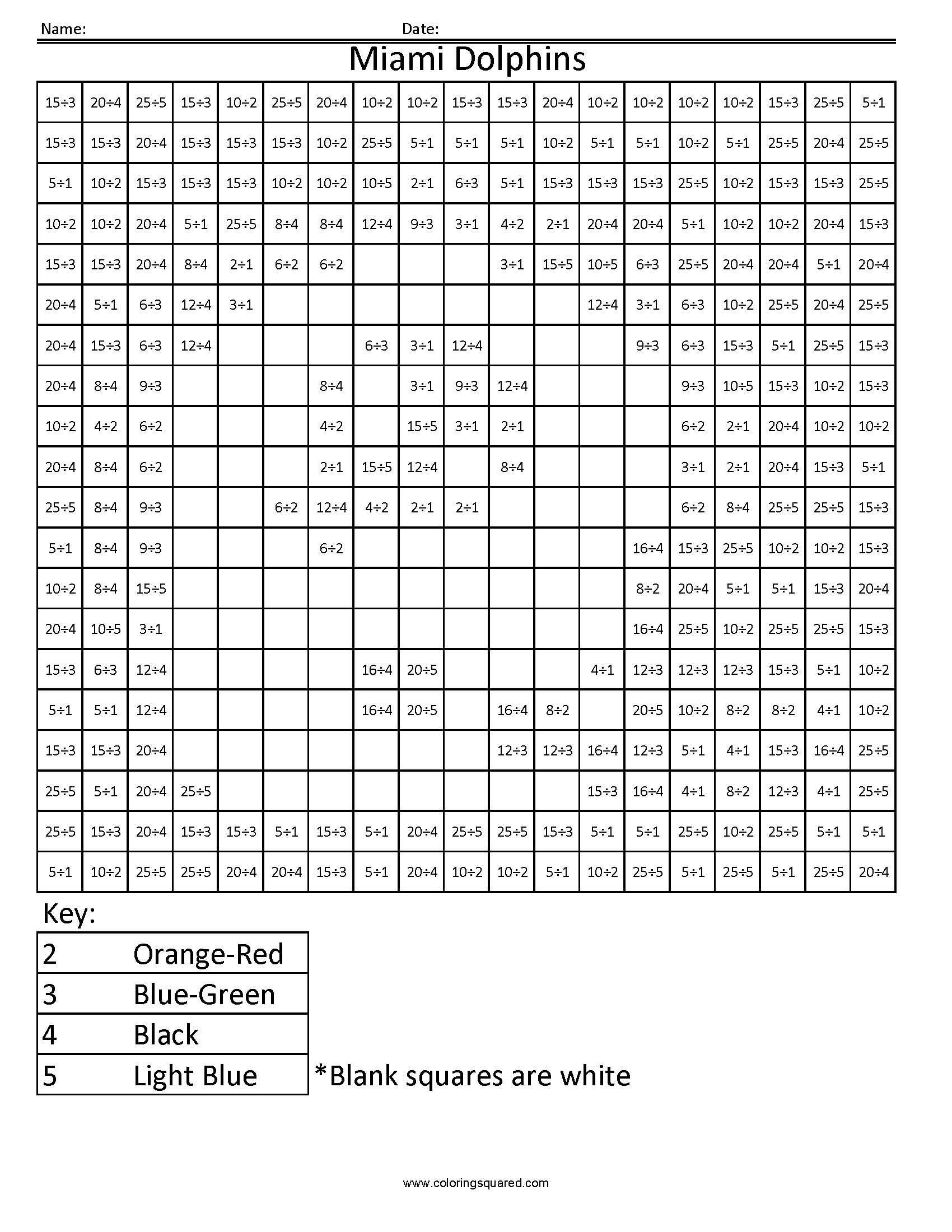 10MD Miami Dolphins NFL AFC football math coloring