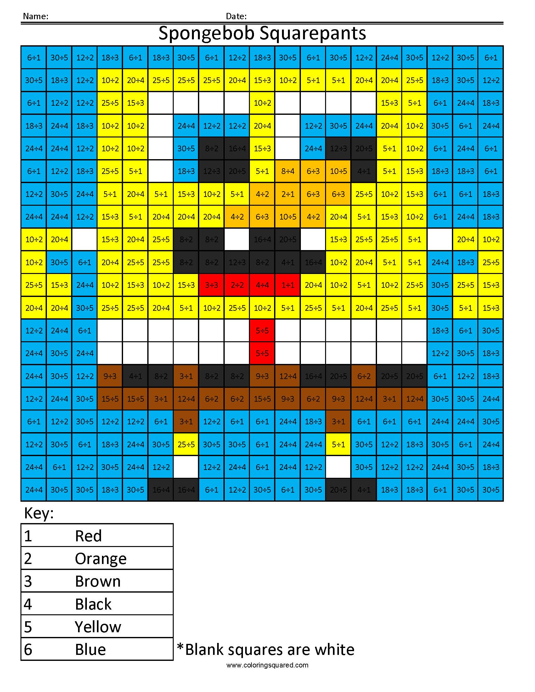 Homeschool Parent Sponge Bob Color By Number Division Freebie