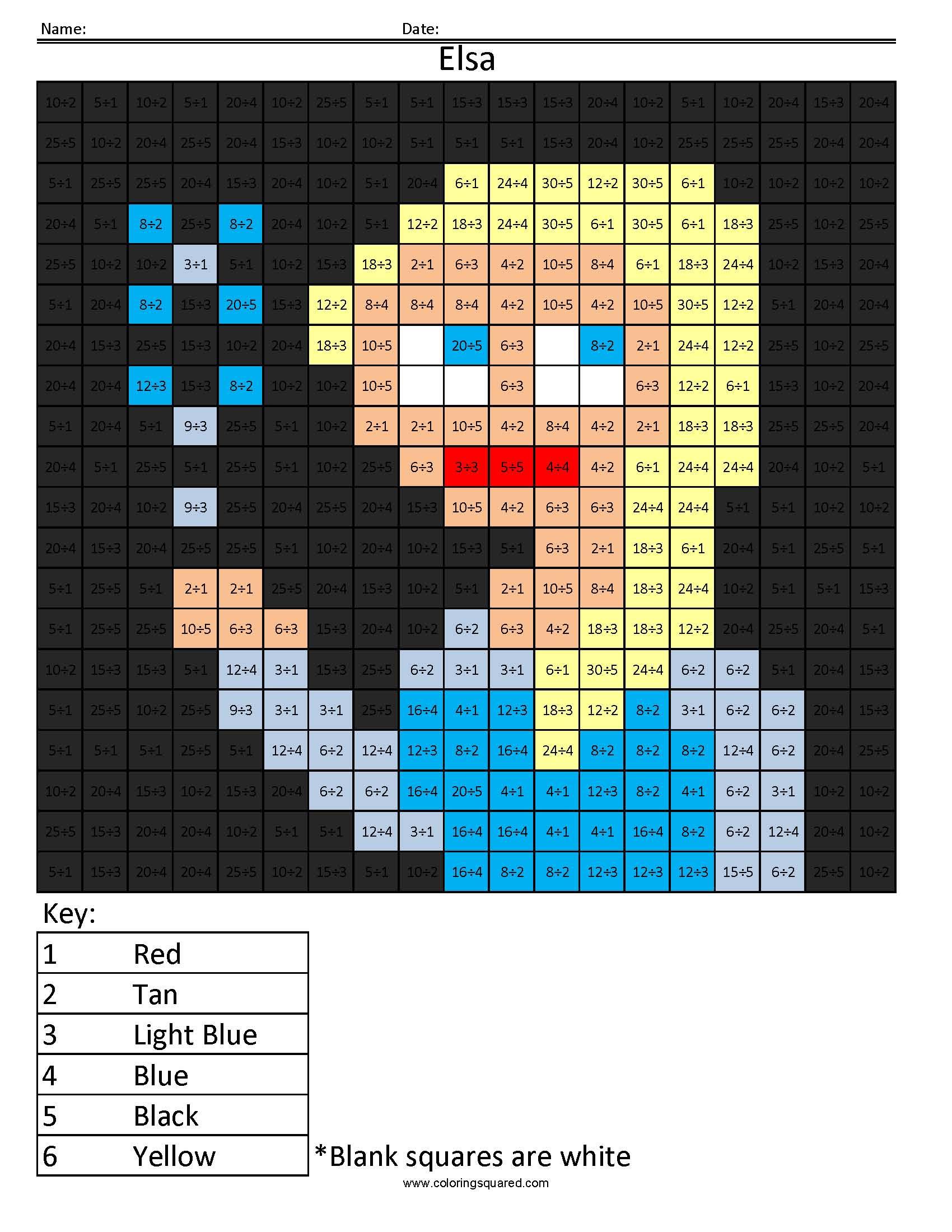Disney Princess Multiplication And Division Coloring Squared