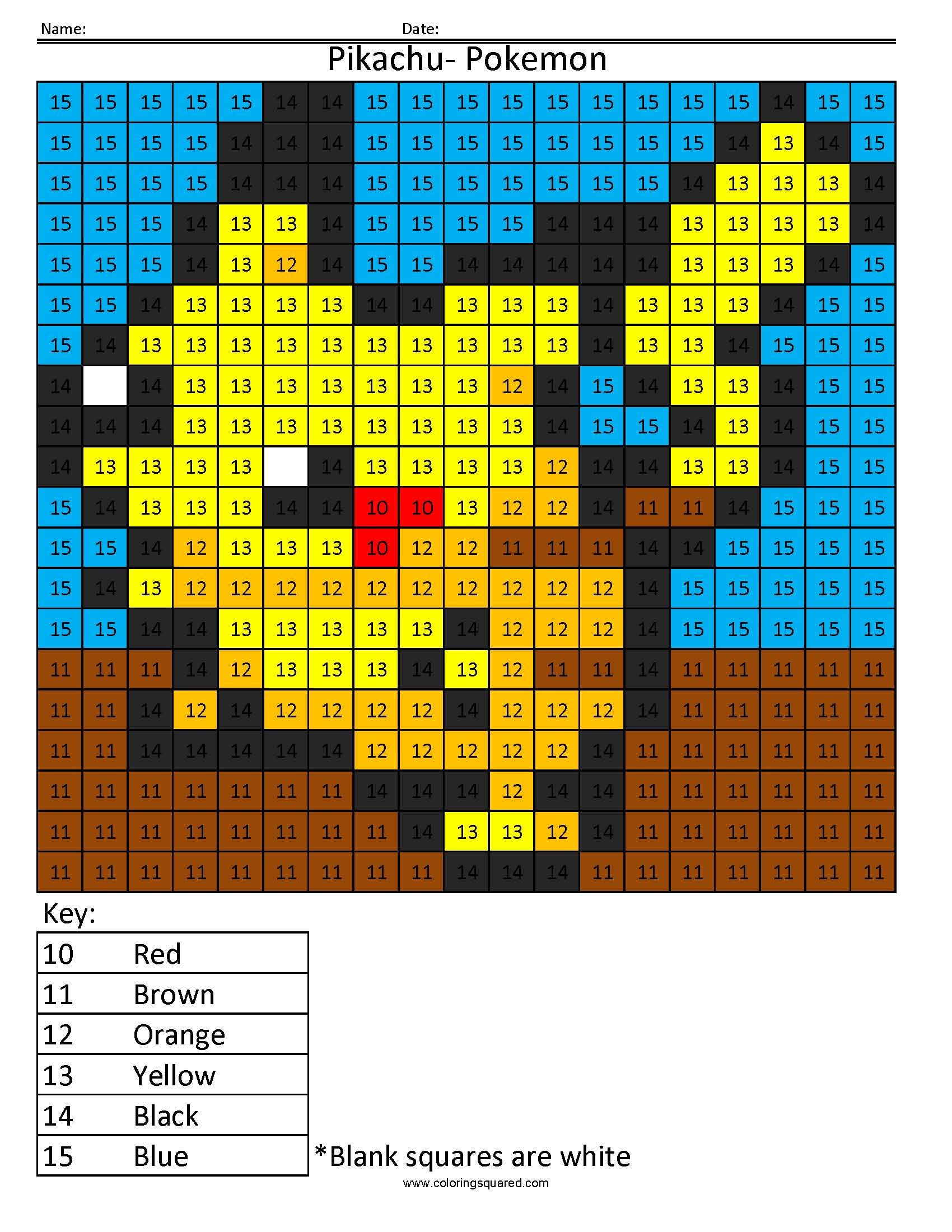Pokemon Pikachu Color By Number