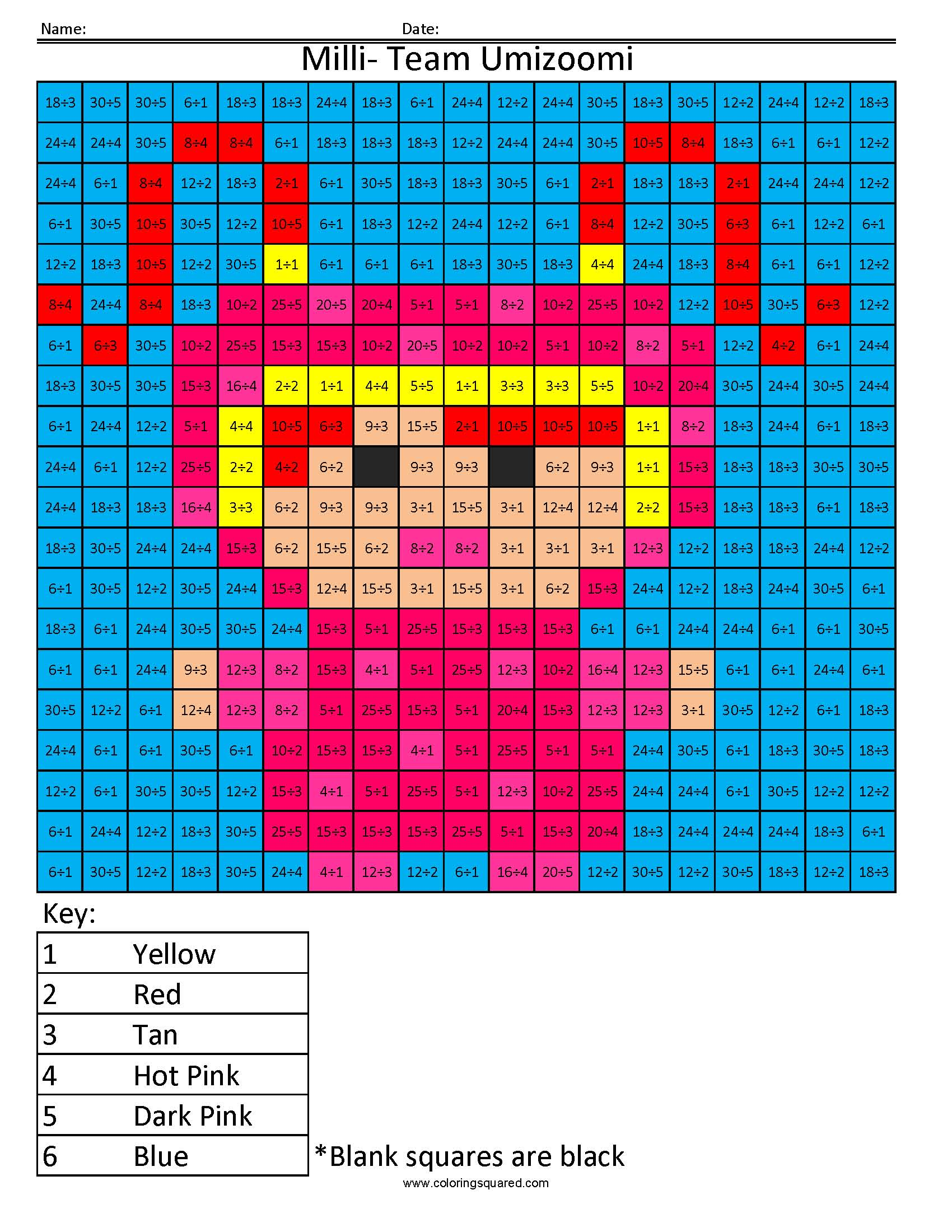 Milli From Team Umizoomi Color By Number
