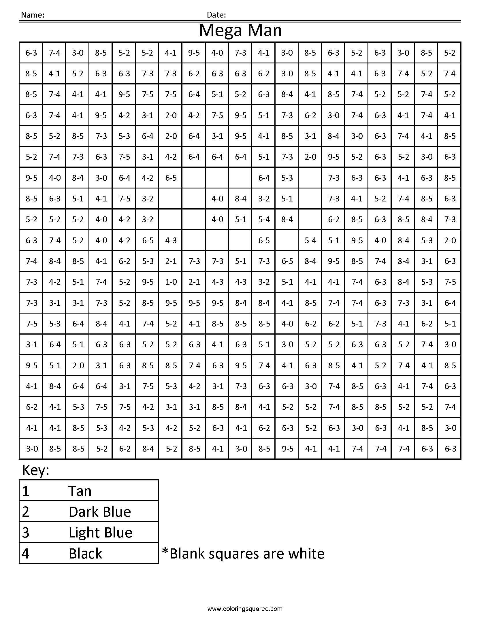 14as Mega Man Shooting Nintendo Subtraction Coloring Worksheet