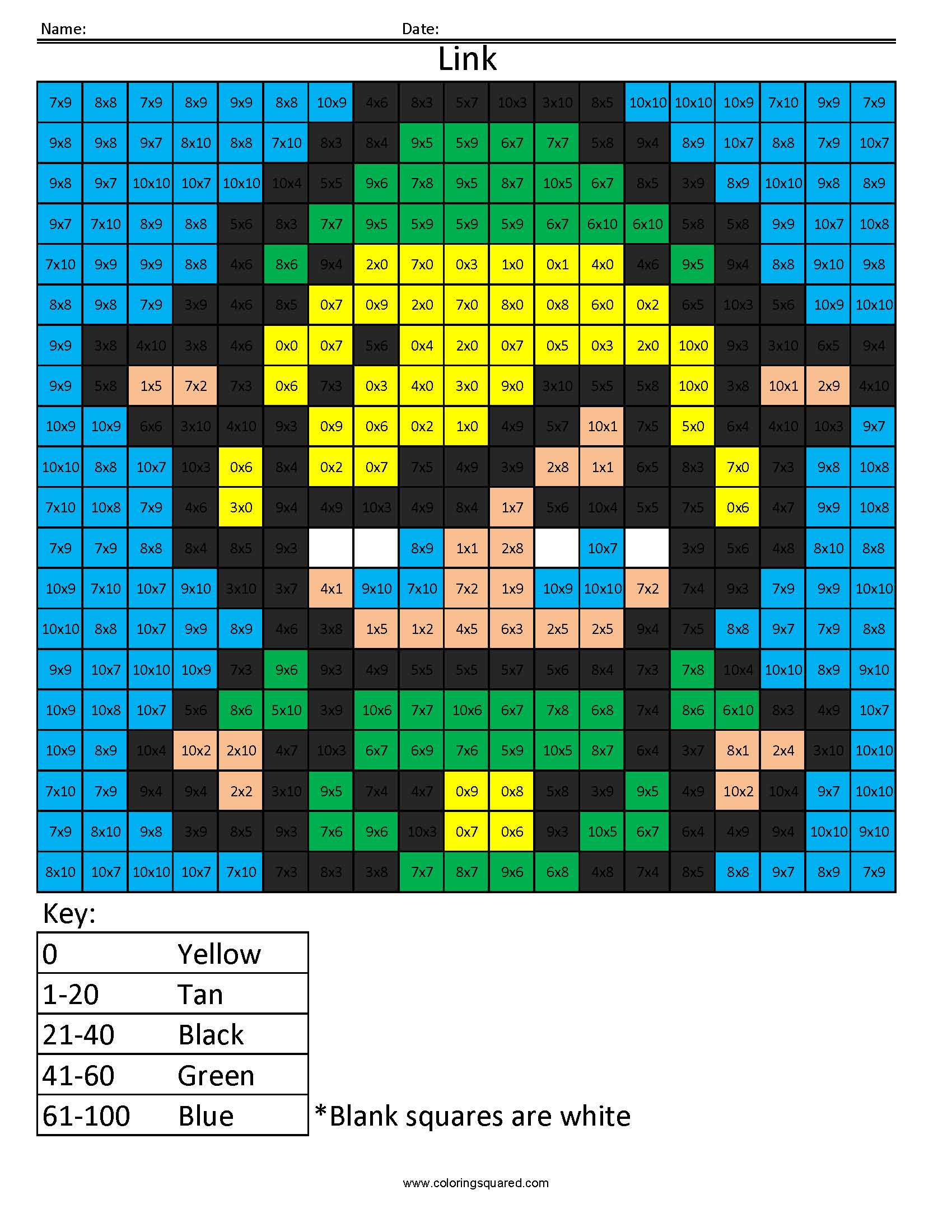 6md Link Nintendo Multiplication Coloring Worksheet