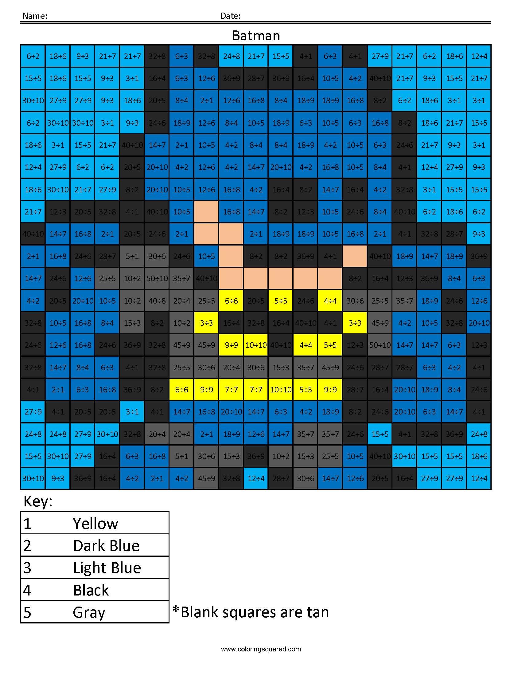 Batman Basic Division Coloring Squared