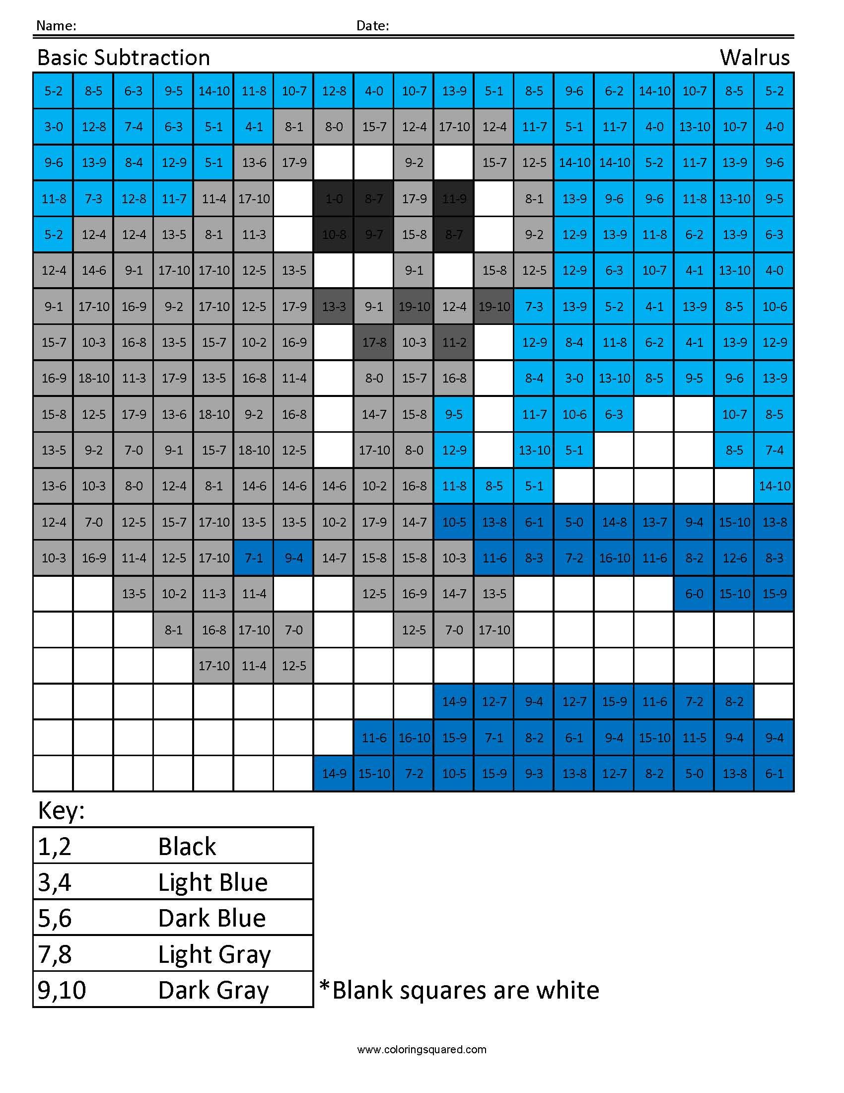 Practice Subtraction Walrus