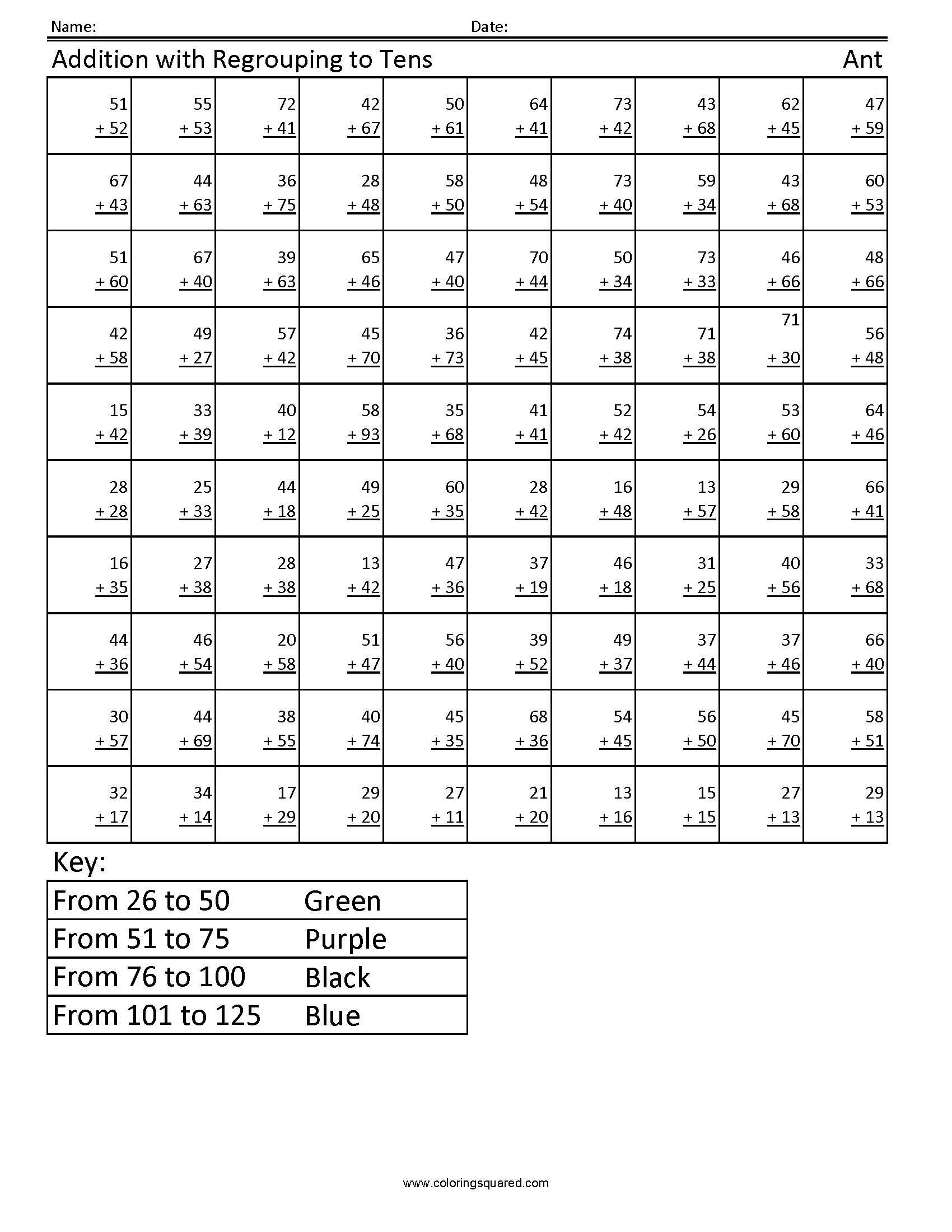 1g33 Regrouping Ant First Grade Math