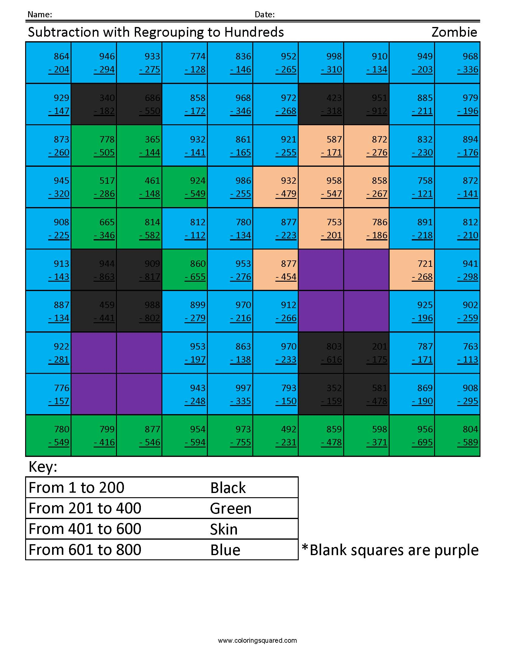 hight resolution of Subtraction with Regrouping- Zombie - Coloring Squared