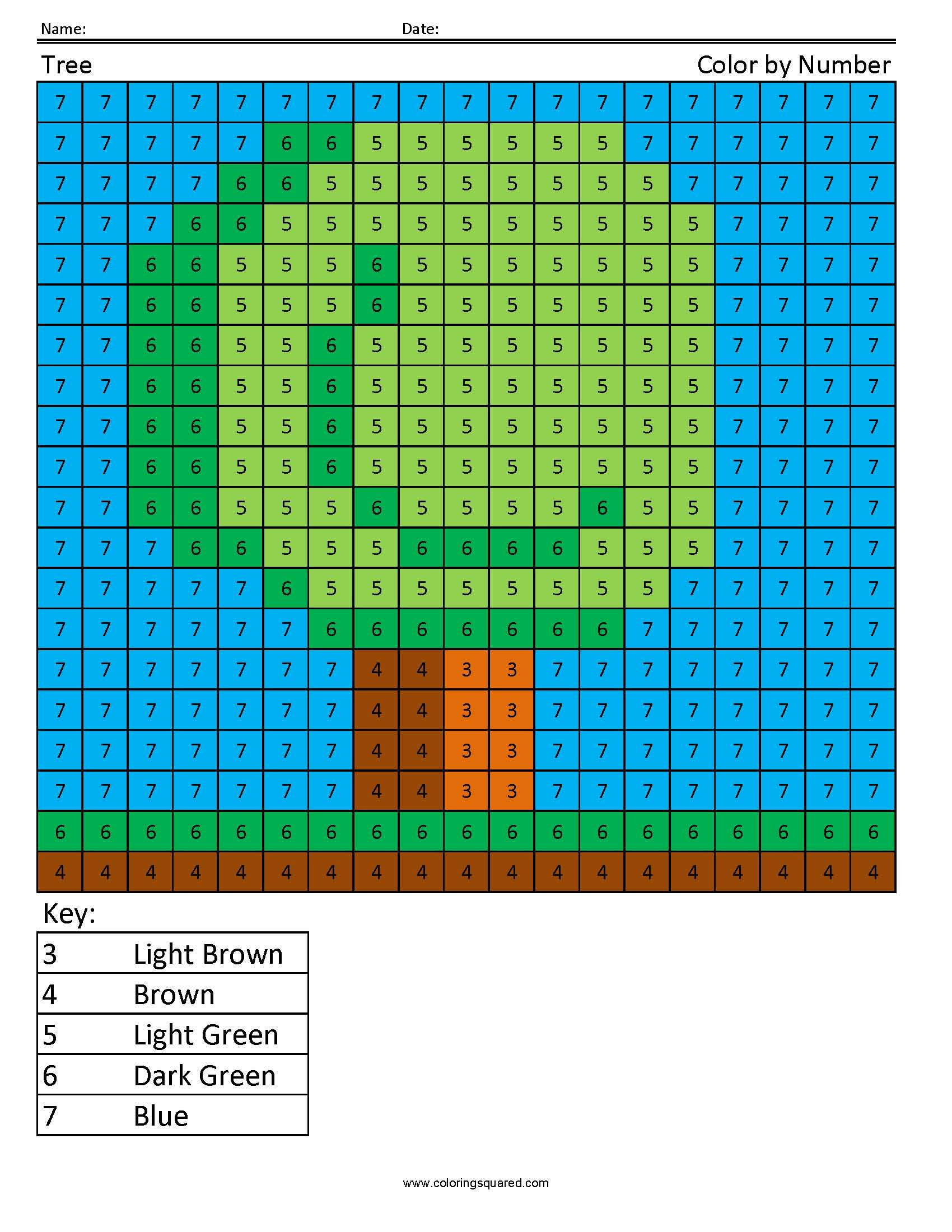Tree Color By Number
