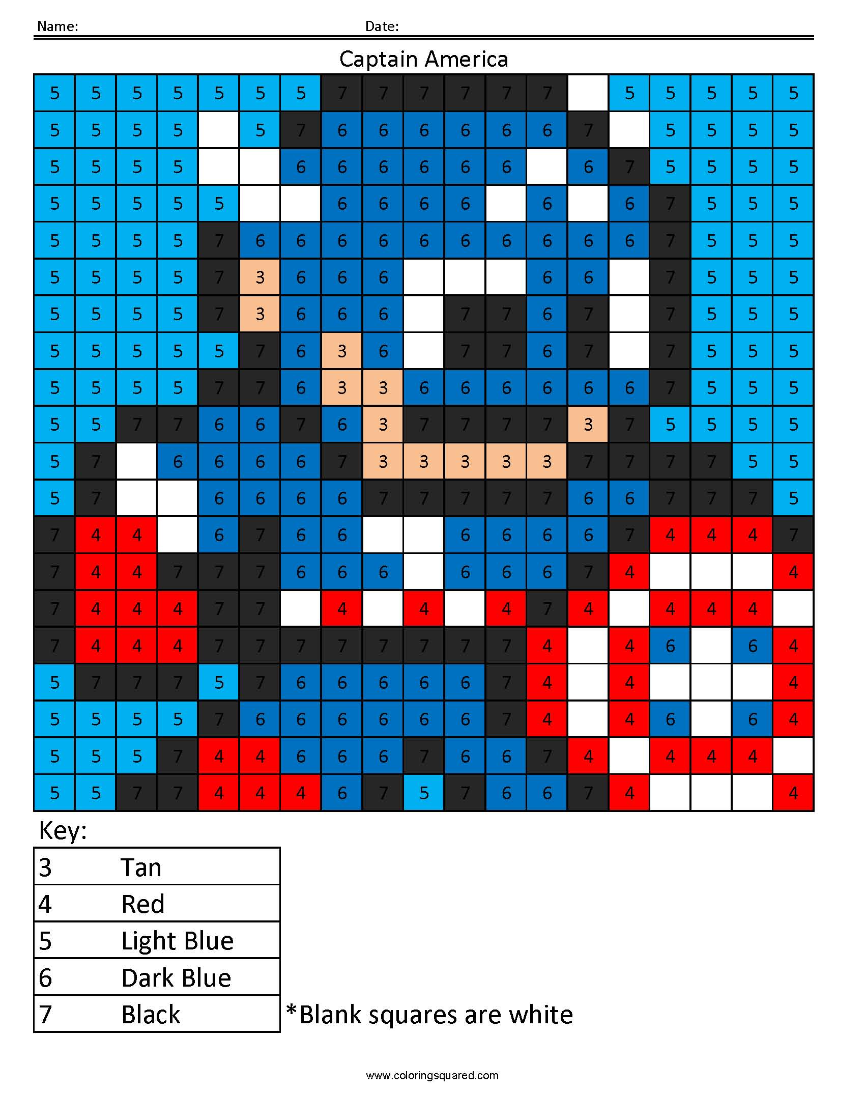 Captain America Color By Number Superhero Activity