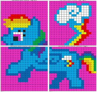 Rainbow Dash Color By Number Mural Coloring Squared