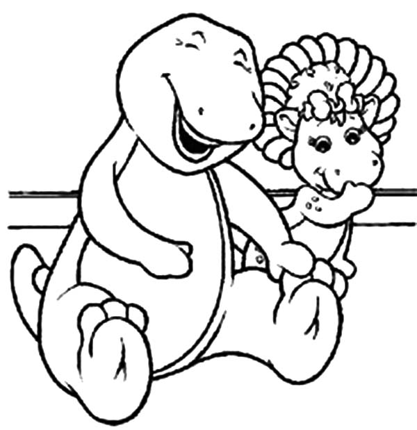 Barney Baby Bop Coloring Page