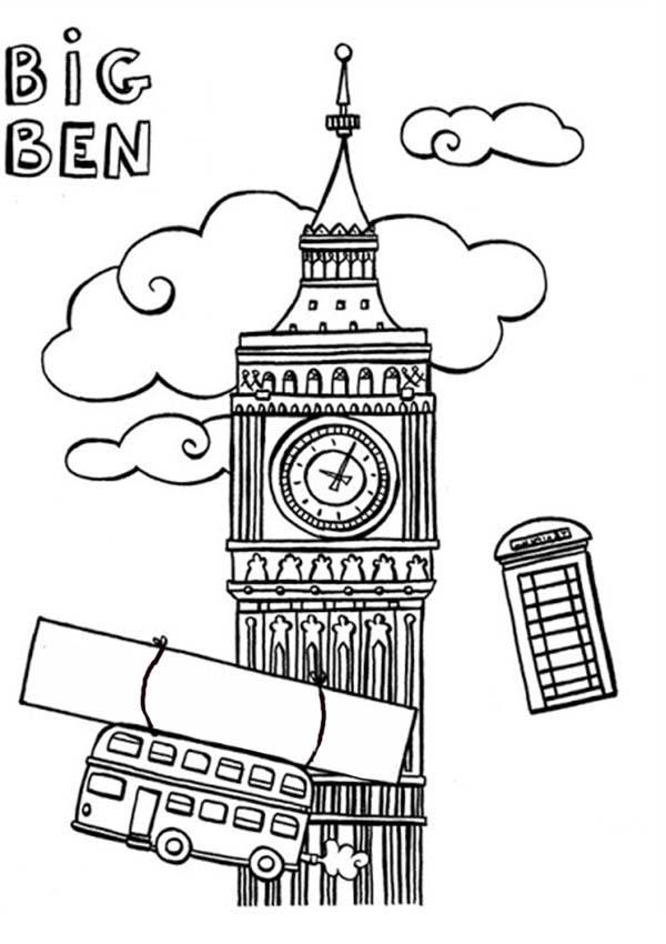 Big Ben And England Trade Mark Coloring Page: Big Ben and