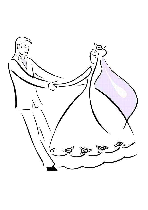 Bride and Groom Dance in Wedding Day Coloring Page: Bride