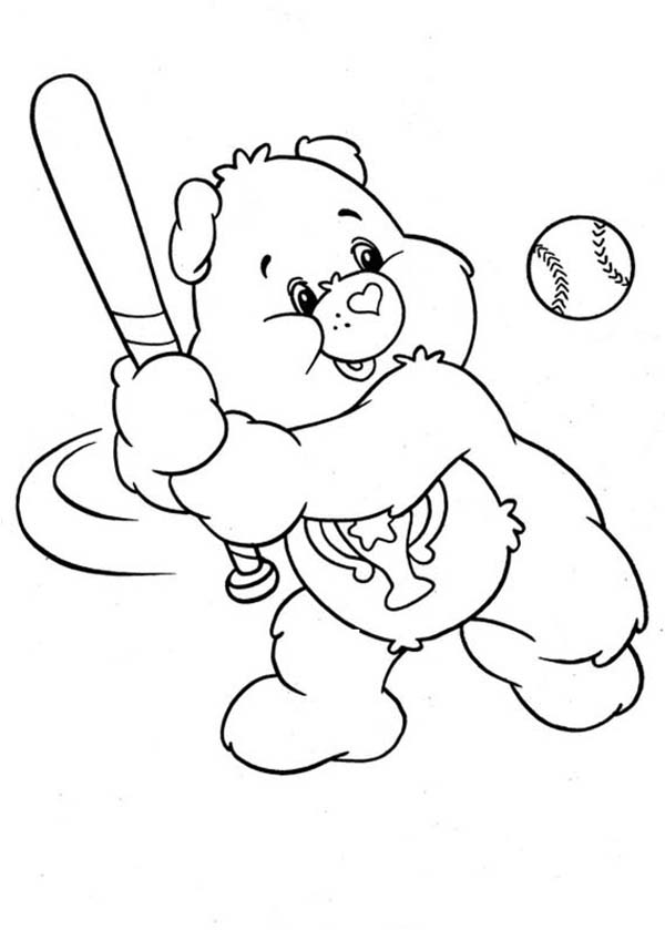 Champ Bear Hit Home Run In Baseball League In Care Bear