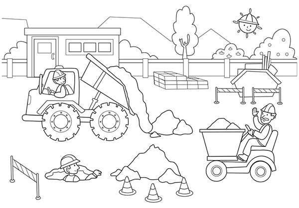 Construction Worker Activity Coloring Page : Coloring Sun