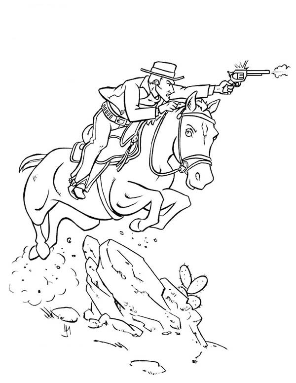 Old West Cowboys With Guns Pages Coloring Pages