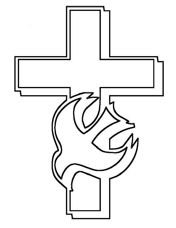 Cross And Holy Spirit Coloring Page: Cross and Holy Spirit