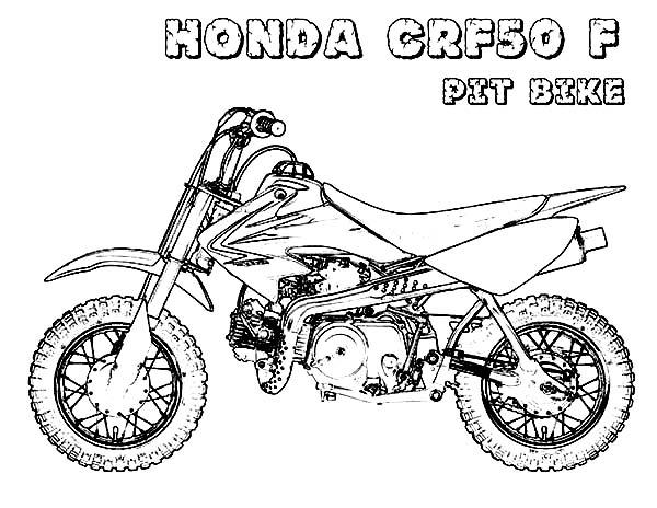 Dirt Bike Honda CRF50F Pit Bike Coloring Page: Dirt Bike