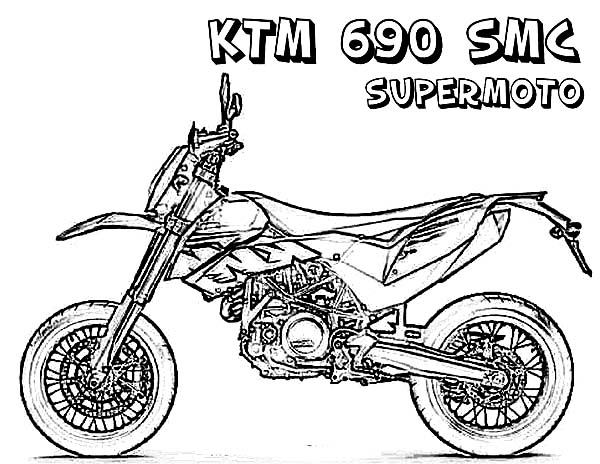 Dirt Bike KTM 690 SMC Supermoto Coloring Page: Dirt Bike