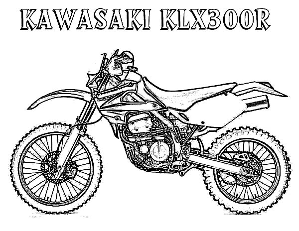 Dirt Bike Kawasaki KLX300R Coloring Page: Dirt Bike
