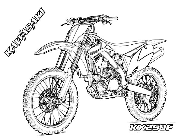 Dirt Bike Kawasaki KX250F Coloring Page: Dirt Bike