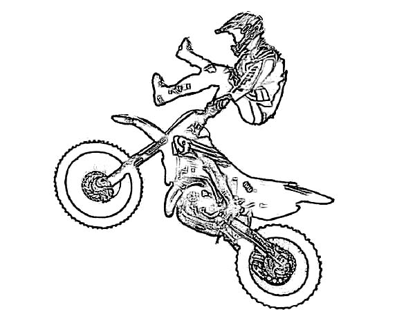 Dirt Bike Showtime Coloring Page: Dirt Bike Showtime