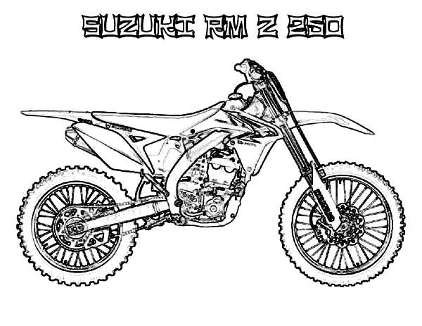 Dirt Bike Suzuki RM Z 250 Coloring Page: Dirt Bike Suzuki
