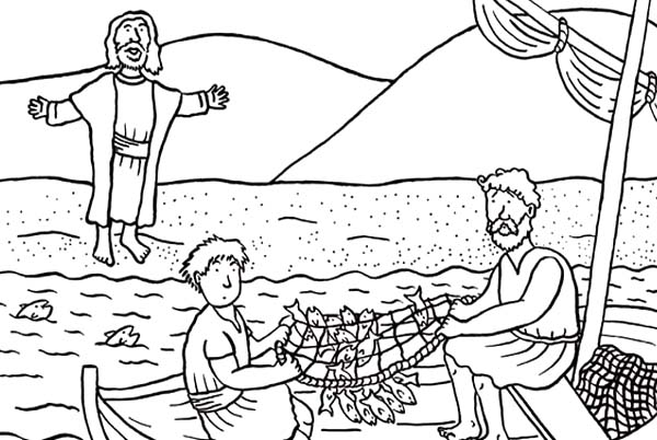 Breakfast Jesus Coloring Page Peter Had