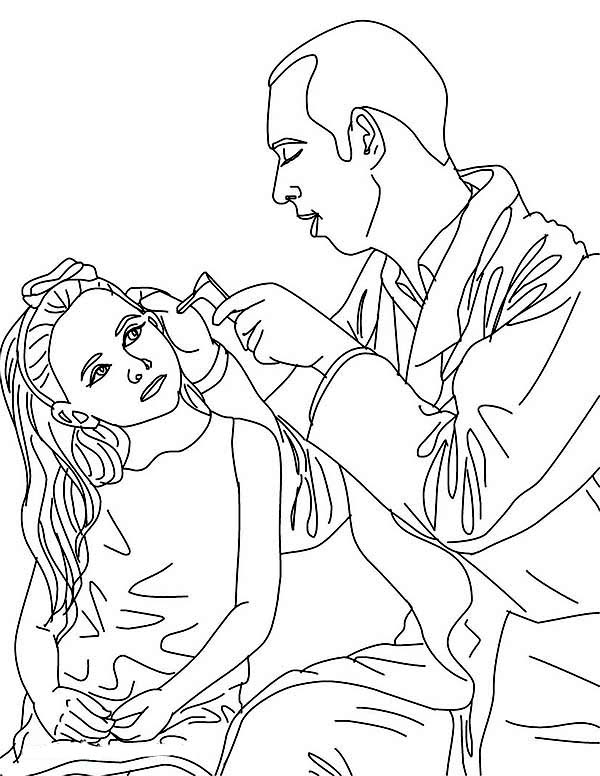 Free coloring pages of doctor or nurse with boy