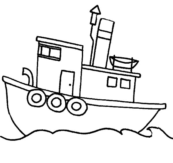 Fishing Boat Sail In The Sea Coloring Page: Fishing Boat