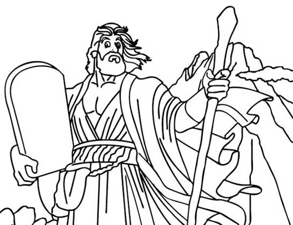 God Spoke With Moses With Ten Commandments Coloring Page