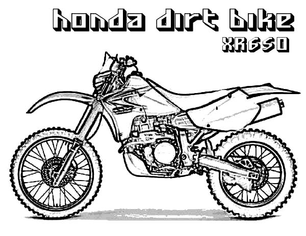Honda Dirt Bike XR650 Coloring Page: Honda Dirt Bike XR650