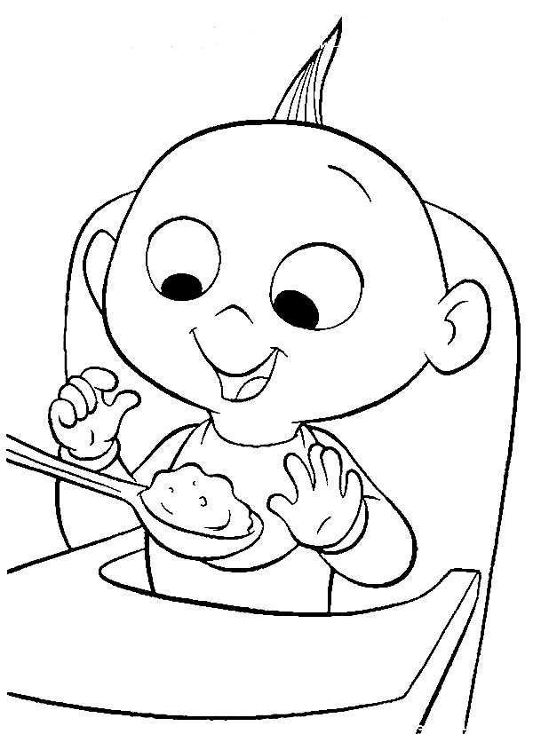 Jack Jack The Incredibles Baby Breakfast Coloring Page