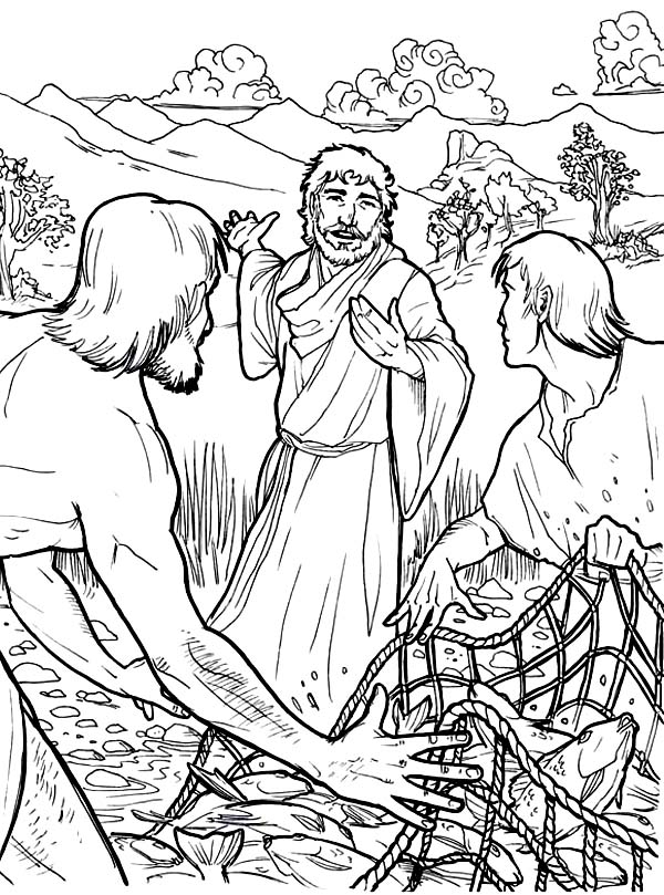 Jesus Disciples and Fishing Net Coloring Page : Coloring Sun