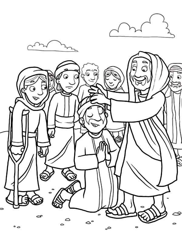 Jesus Heals The Sick With His Disciples Coloring Page