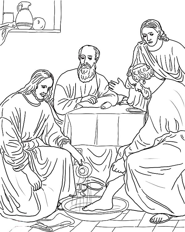 Jesus Washing the Disciples Feet Coloring Page: Jesus
